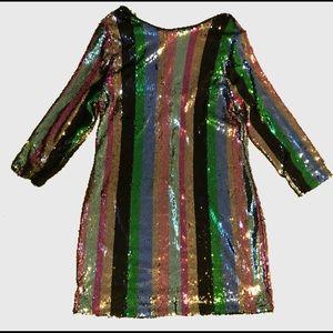 (NEW) Fancy glitter colored midi-mini dress